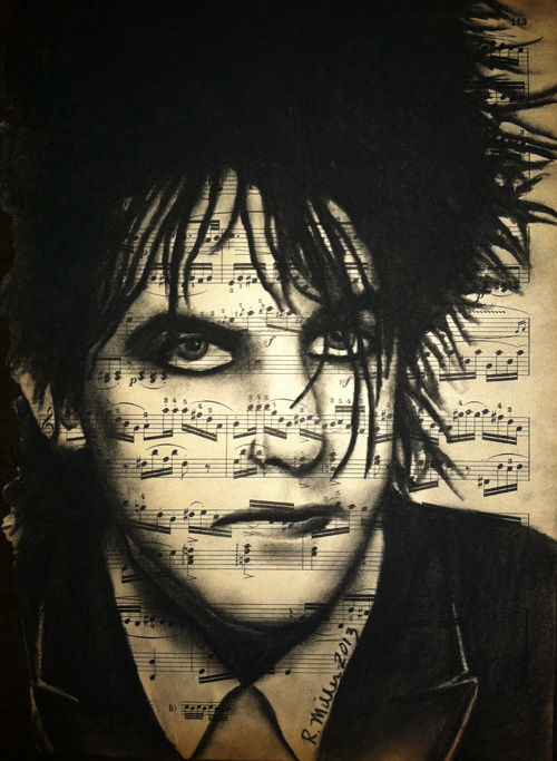 "Robert Smith, 2013     Charcoal on antique sheet music, 9"" x 12"""