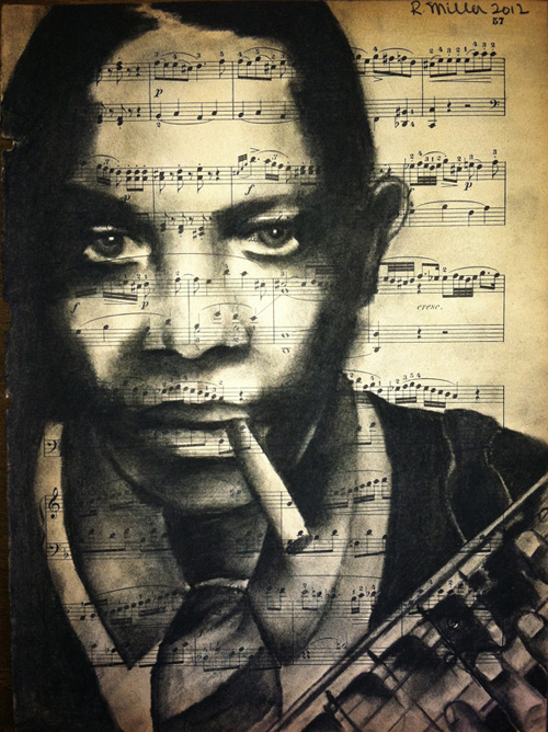 "Robert Johnson, 2013   Charcoal on antique sheet music, 9"" x 12"""