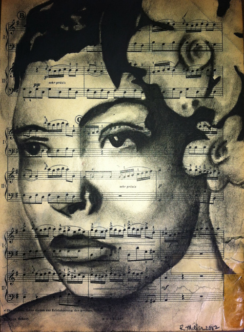 "Billie Holiday   Charcoal on antique sheet music, 9"" x 12"""