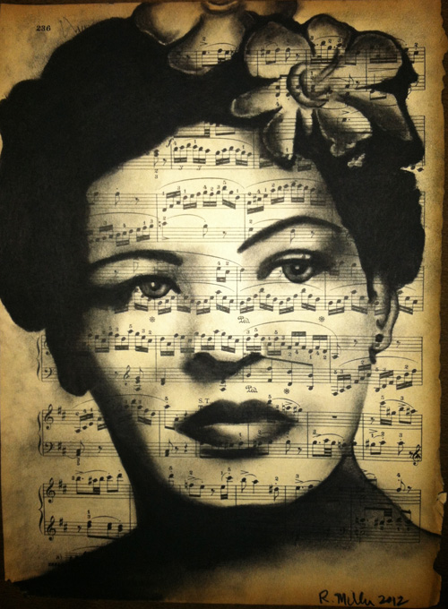 "Young Billie Holiday  Charcoal on antique sheet music, 9"" x 12"""