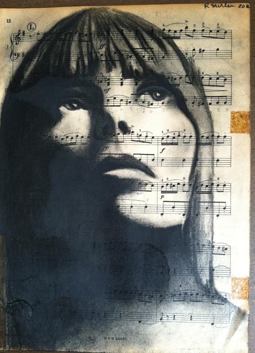 "Joni Mitchell   Charcoal on antique sheet music, 9"" x 12"""