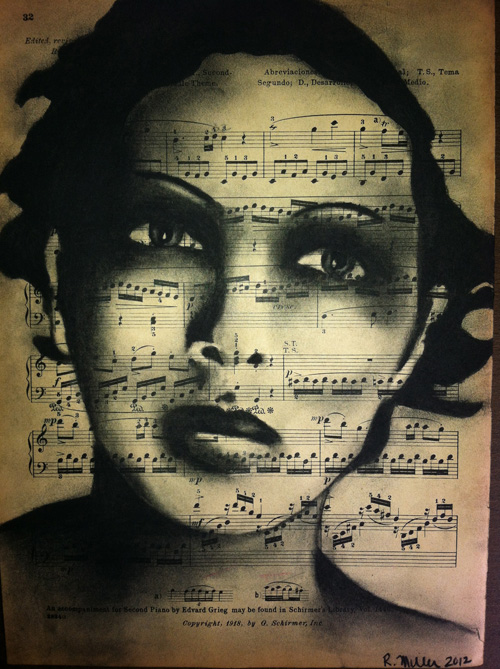 "Josephine Baker   Charcoal on antique sheet music, 9"" x 12"""