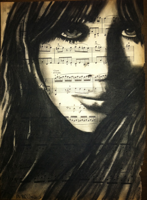 "Marianne Faithfull   Charcoal on antique sheet music, 9"" x 12"""
