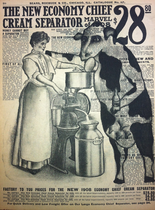 """Cream Separator   Charcoal on antique catalog page, 8 1/2"""" x 11"""""""