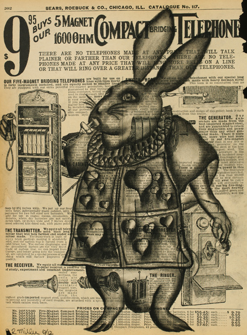 """Hare Telephone   Charcoal on antique catalog page, 8 1/2"""" x 11"""""""