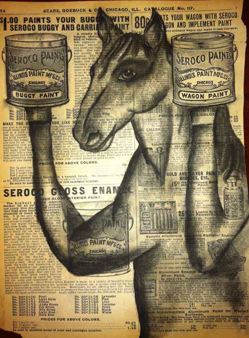 """Horse & Buggy   Charcoal on antique catalog page, 8 1/2"""" x 11"""""""