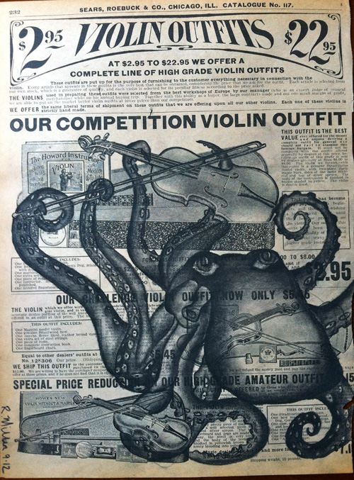 """Octopus Orchestra   Charcoal on antique catalog page, 8 1/2"""" x 11"""""""
