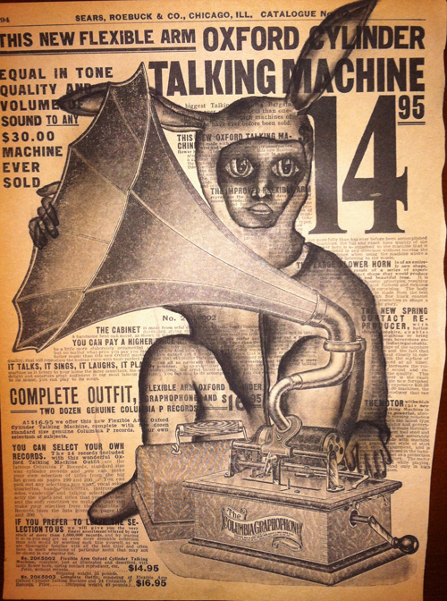 """Talking Machine   Charcoal on antique catalog page, 8 1/2"""" x 11"""""""