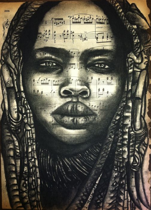 "African Headdress Beauty         Charcoal on antique sheet music, 9"" x 12"""