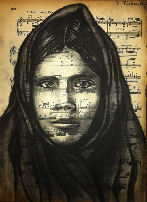 "Cherokee Native American Girl, 2013  Charcoal on antique sheet music, 9"" x 12"""