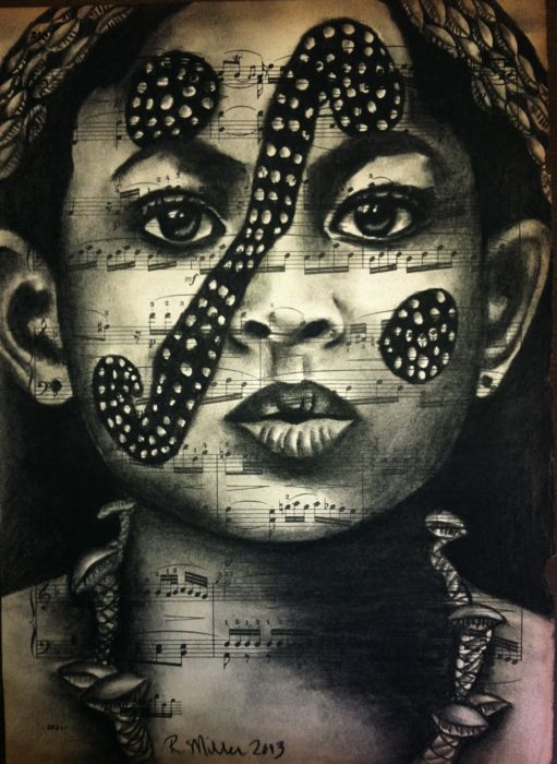 "Hamer Tribe Ethiopian Girl, 2013   Charcoal on Antique Sheet Music, 9"" x 12"""