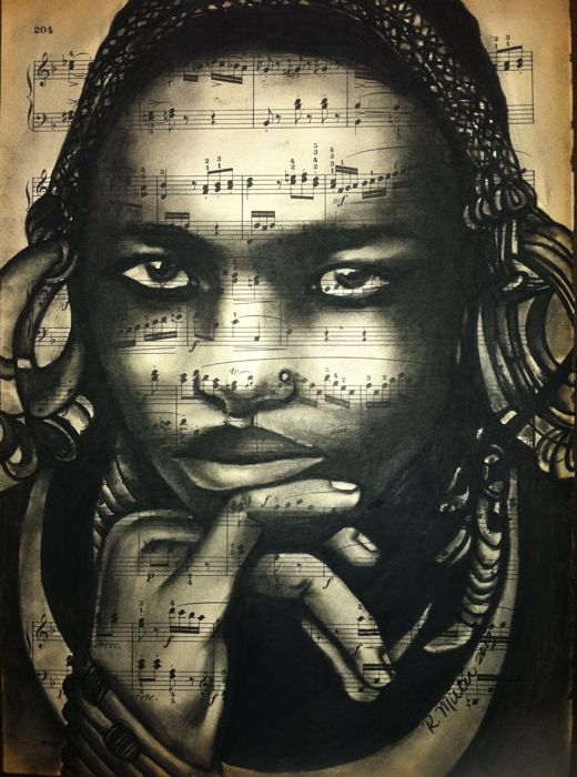 "Ethiopian Mursi Girl, 2013   Charcoal on Antique Sheet Music, 9"" x 12"""