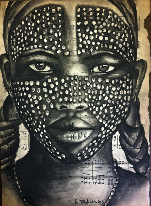 "Arbore Girl of Ethiopia, 2013   Charcoal on Antique Sheet Music, 9""x 12"""