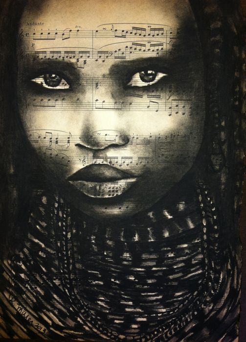 "Mwila Girl of Angola, 2013   Charcoal on Antique Sheet Music, 9"" x 12"""