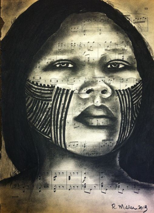 Kayapo Girl of the Amazon Rainforest, 2013   Charcoal on Antique Sheet Music