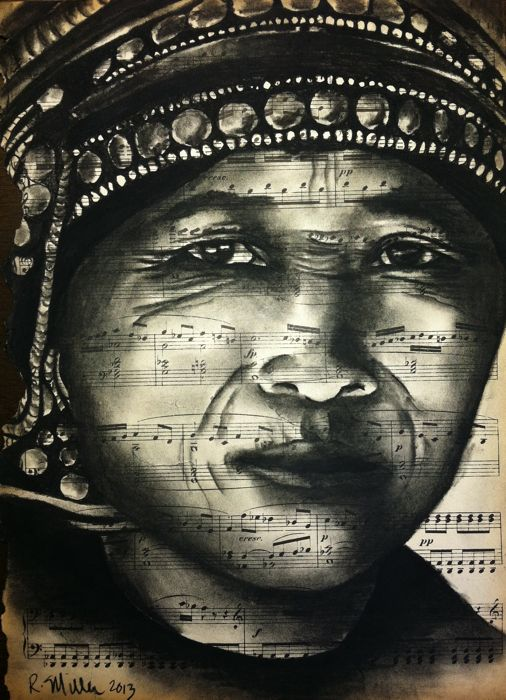 Akha Woman of Northern Laos, 2013   Charcoal/Ink on antique sheet music