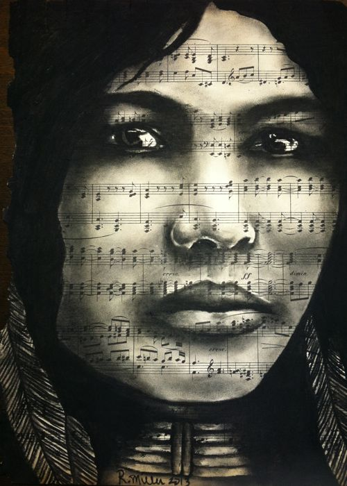 Native American Woman, 2013  Charcoal/ink on antique sheet music
