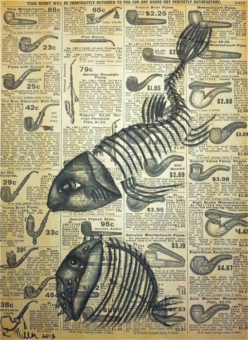 "Fukushima, 2013   Charcoal on antique catalog page, 8 1/2"" x 11"""