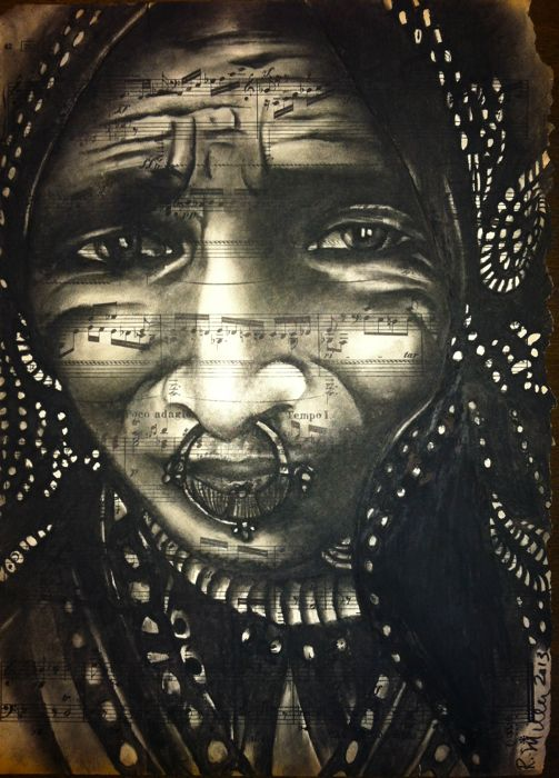 Jat Woman of Northern India, 2013   Charcoal/ink on Antique sheet music