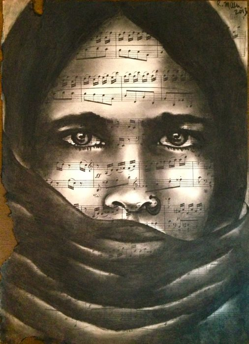 Veiled Girl, 2013   Charcoal on antique music