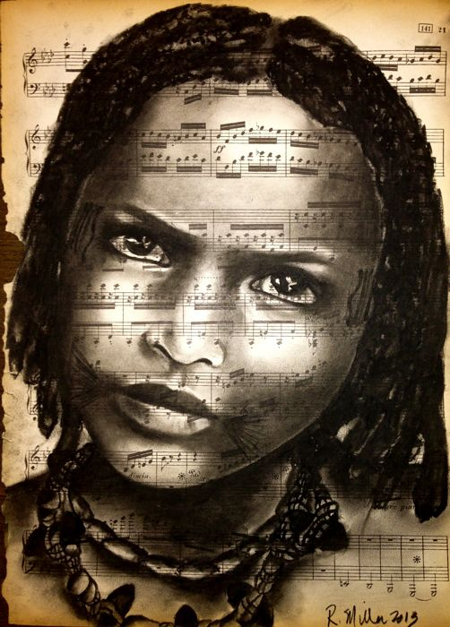 Fulani Girl of Africa, 2013  Charcoal on antique sheet music