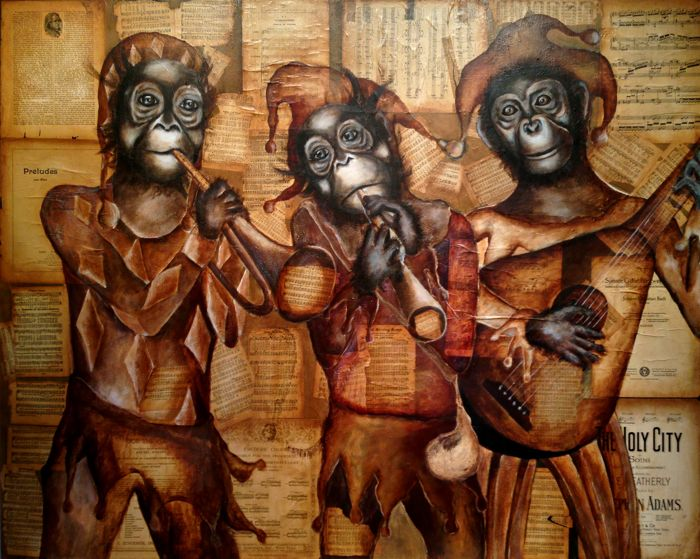 """""""Sonata in Monkey Minor"""", 2014    4'x5' Mixed media on canvas"""