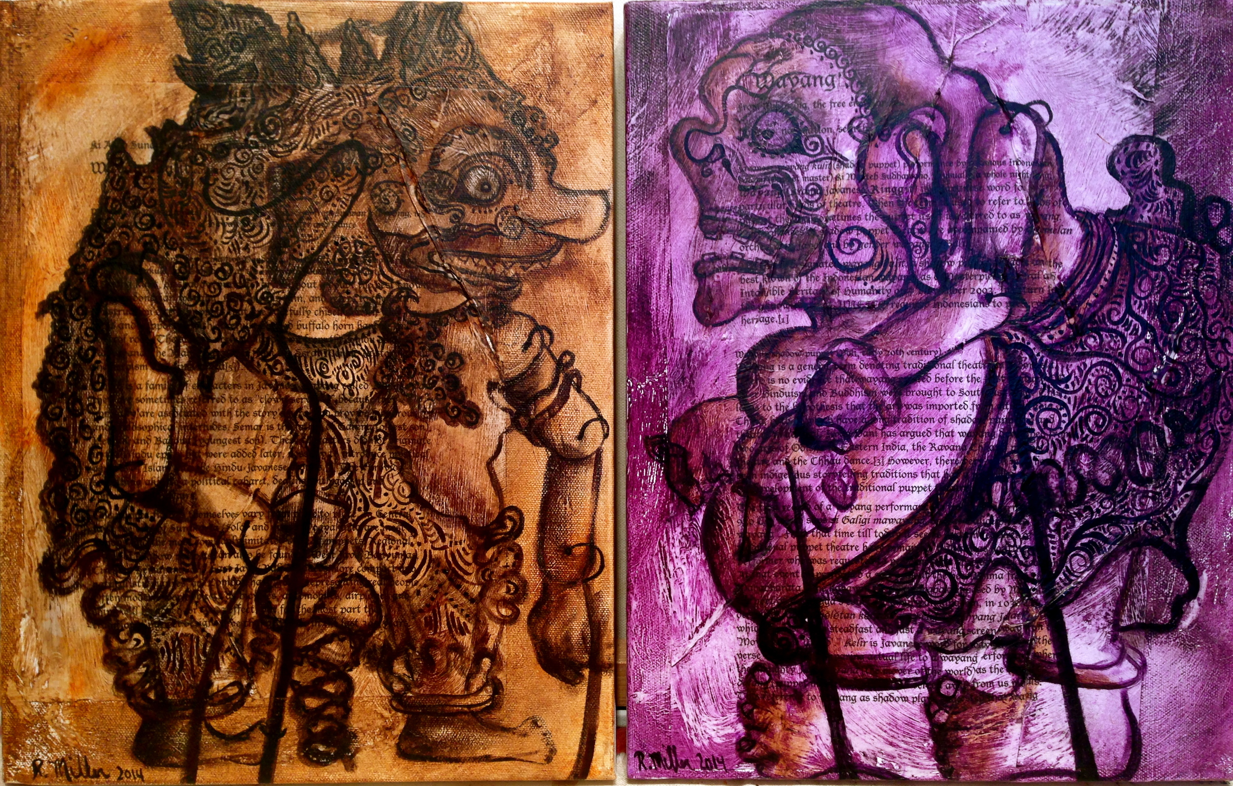 Wayang Kulit, 2014  Side by side shot  Mixed media on canvas