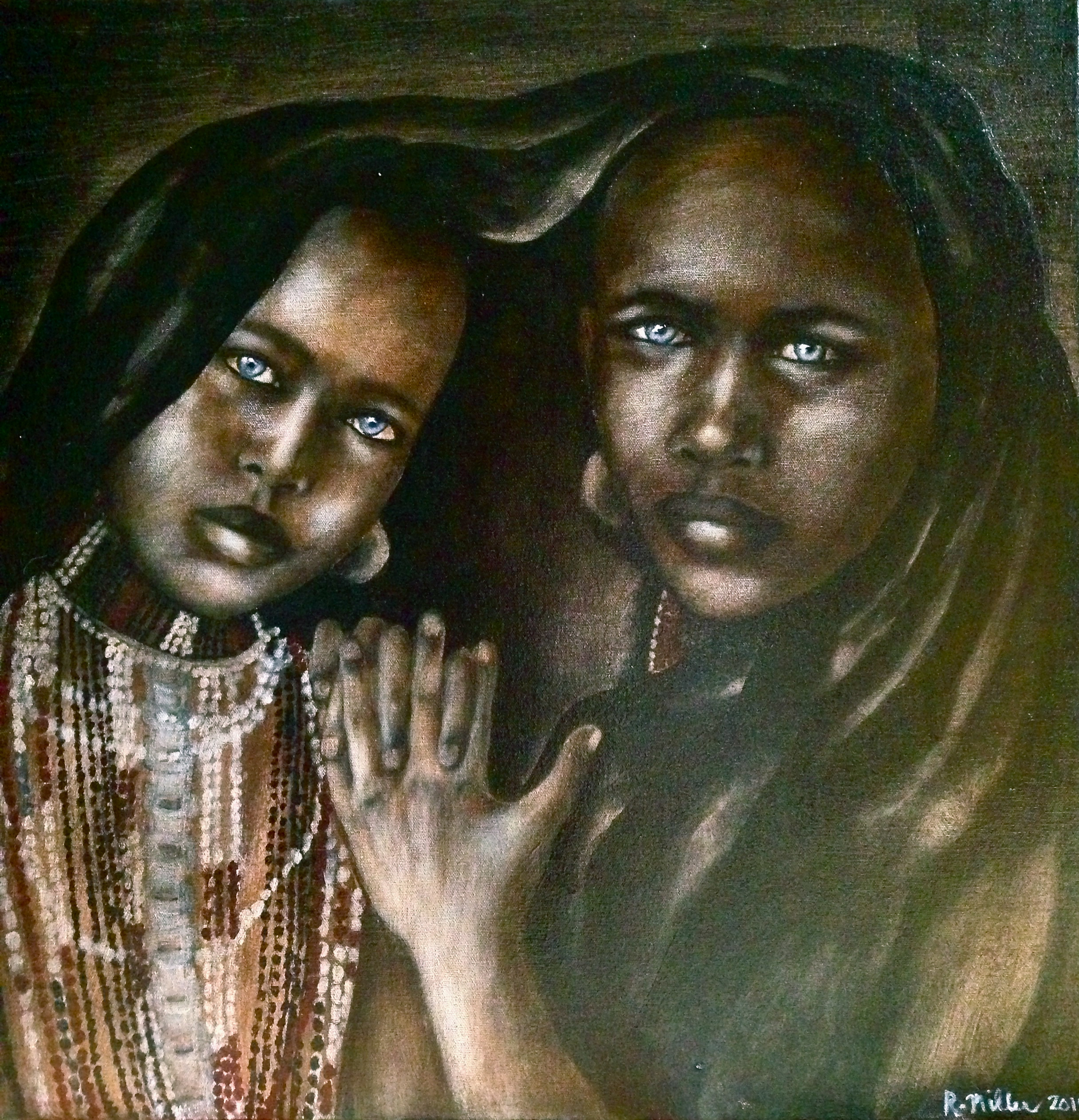Arbore Sisters of Ethiopia, 2014    Acrylic & oil on canvas