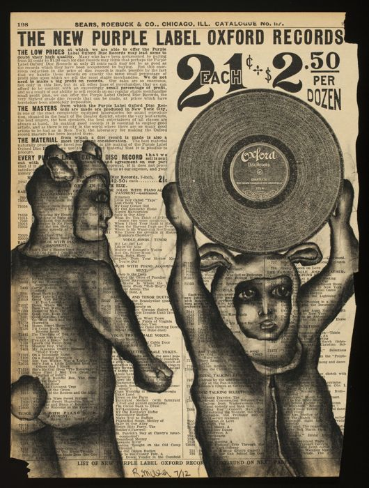 """The Record Thieves, 2012   Charcoal on antique catalog page 8 1/2"""" x 11"""""""
