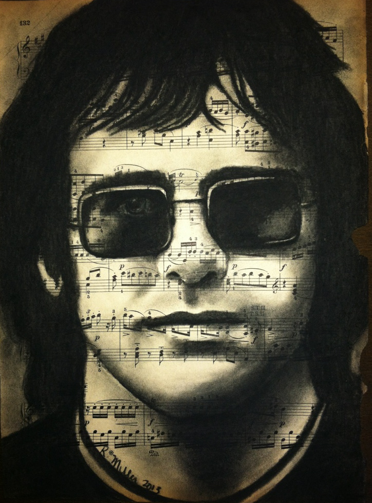 Sir Elton John, 2013    Charcoal on antique sheet music