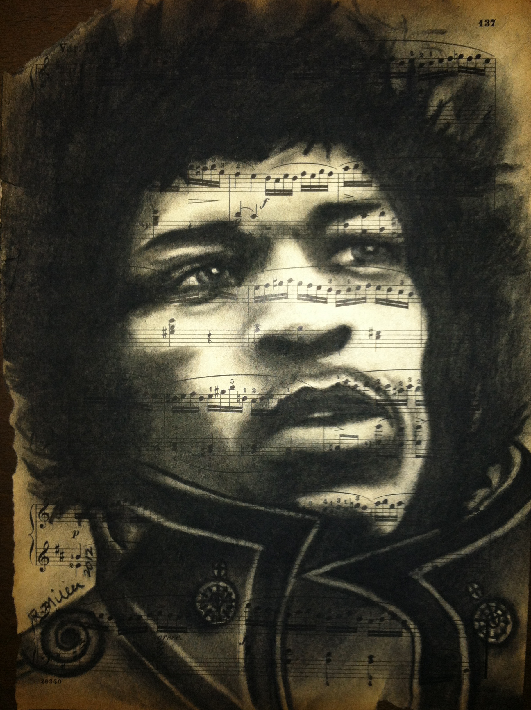 Jimi Hendrix, 2012   Charcoal on antique sheet music