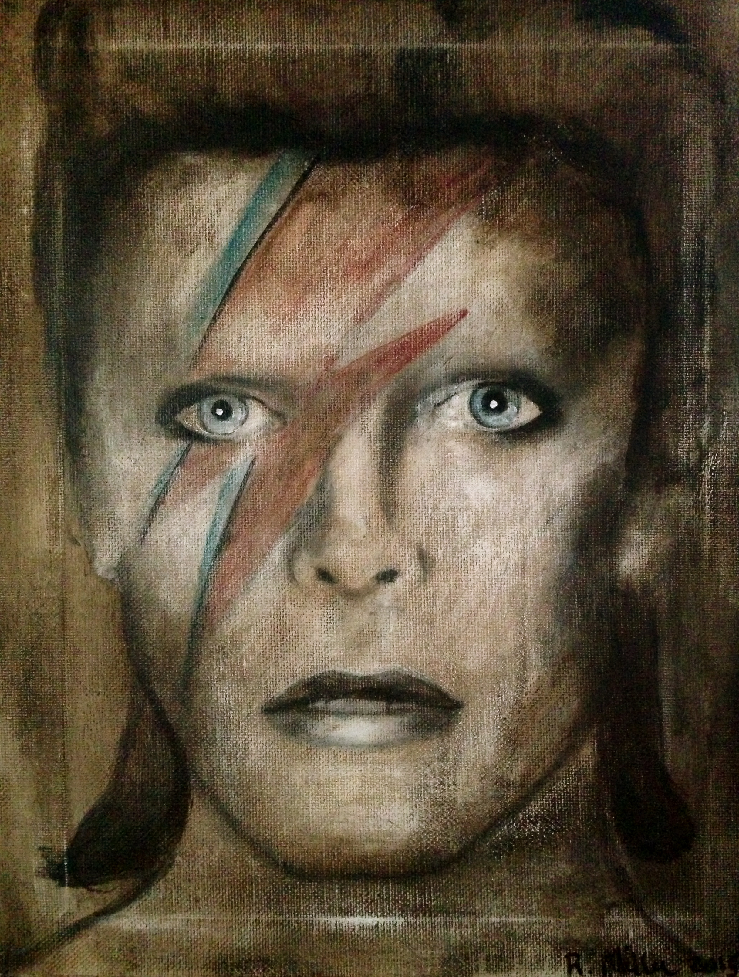 David Bowie/Ziggy Stardust, 2015   Acrylic & oil on canvas