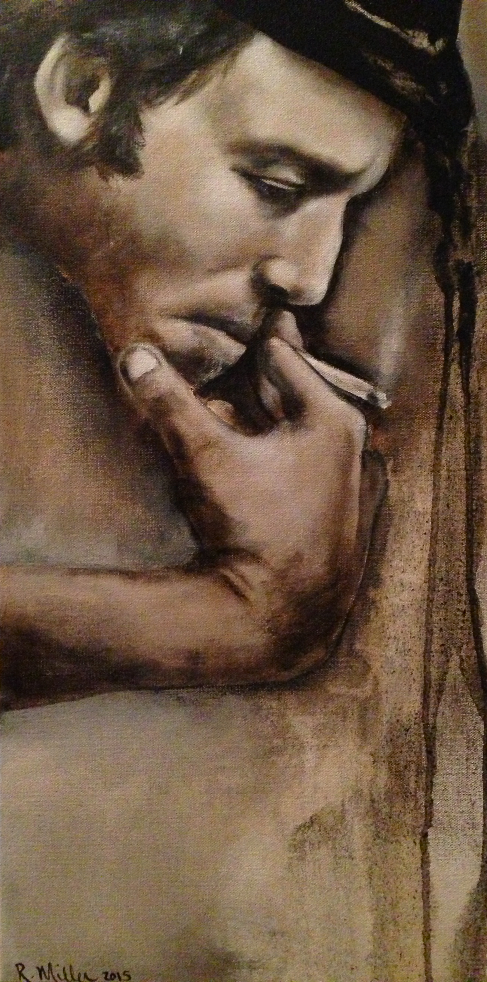 """Tom Waits, 2015   Oil & acrylic on canvas  By Rebecca Miller  """"The beginning of it starts at the end""""― Tom Waits"""