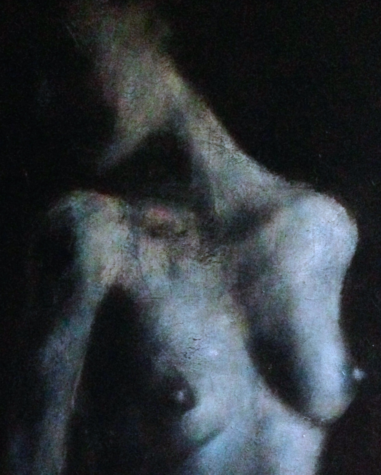 (closeup) Blue Nude 4'x5', 2015   Acrylic & oil on canvas