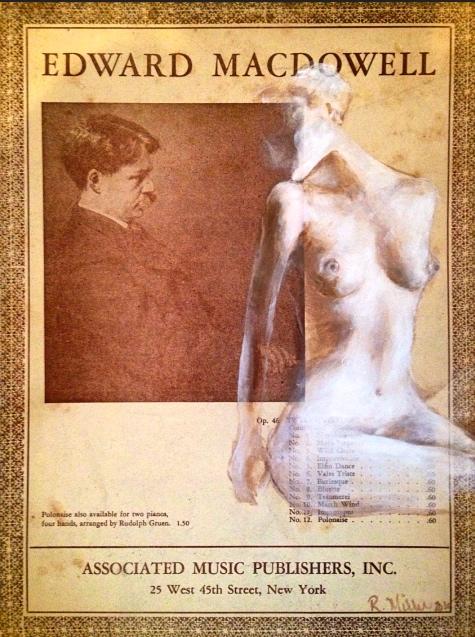 Adagio, 2015   Acrylic on antique music cover