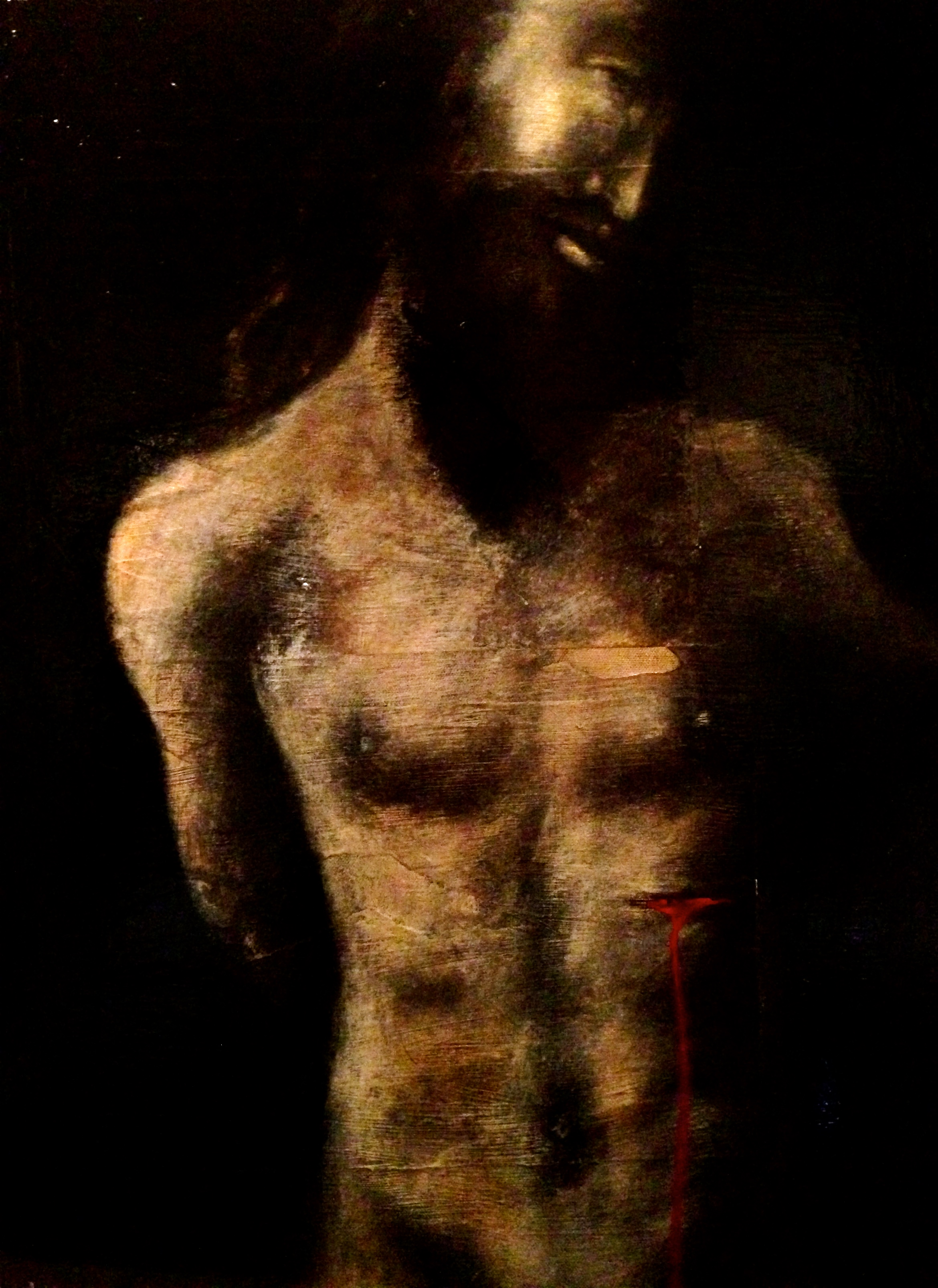 Jesus, 2015     Mixed Media on canvas     Although I am not a person of religion I am extremely facinated and intrigued by the magnificent art that has been inspired by it. This was inspired by all the beauty I saw in Florence Italy. I guess Art is my religion
