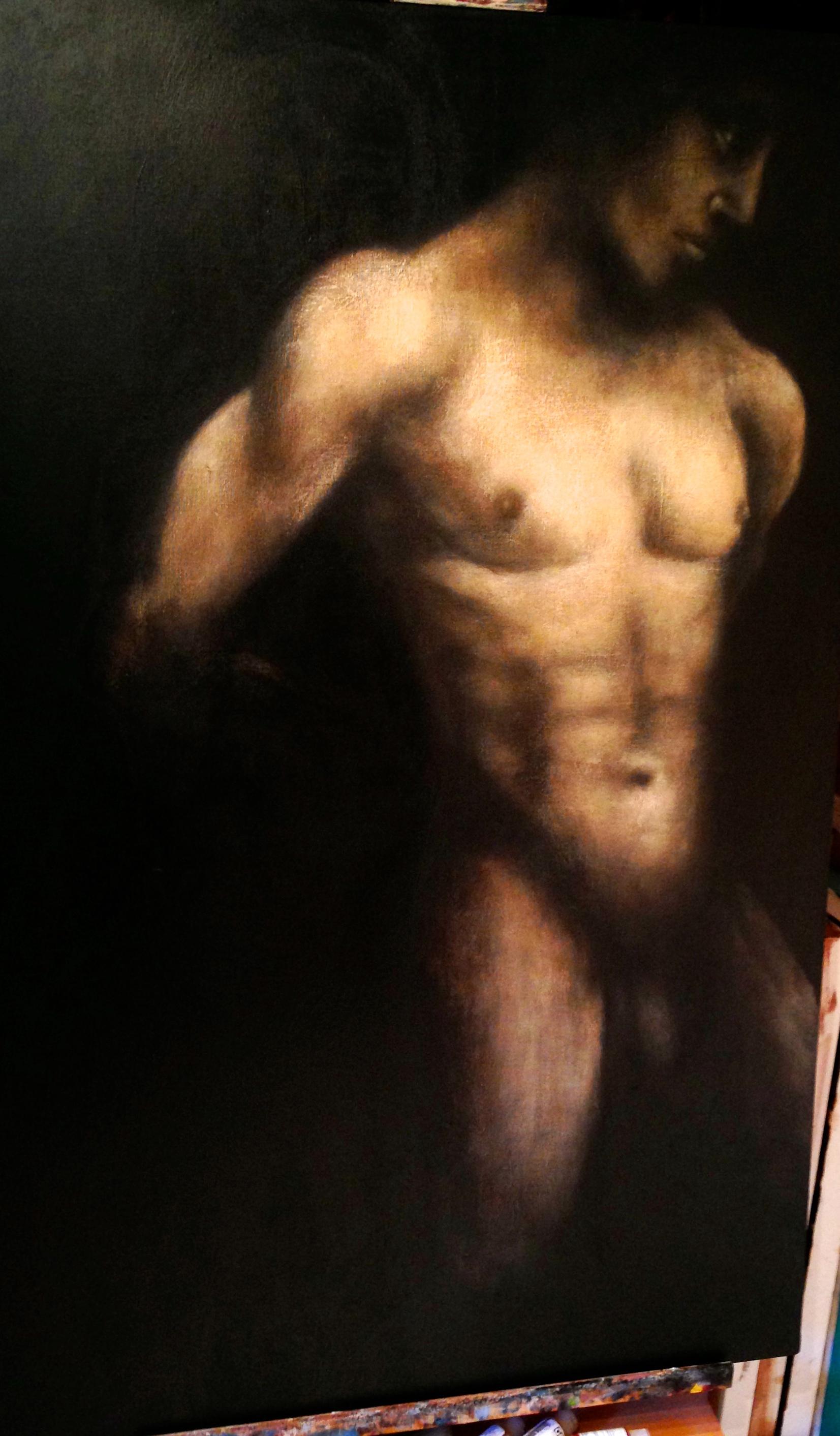 """Coraggioso, 2015  30"""" x 48"""" Acrylic & oil on canvas"""