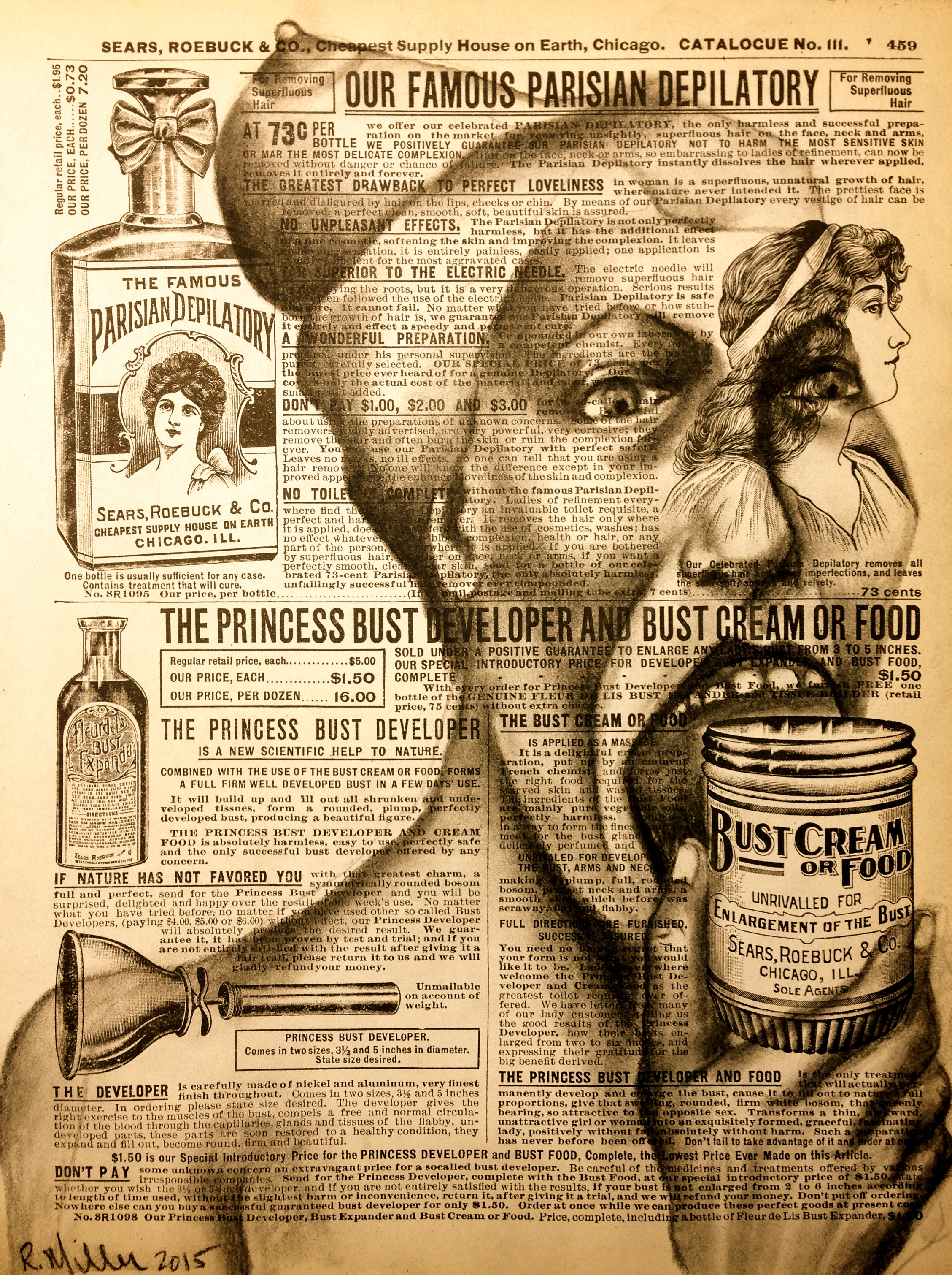 """""""Busted Food, made by Monsanto; Some Side effects may include: boobhead, fever, headache, loss of appetite, leg shrinkage, hip displacement, hemorrhaging, death. Ask your Dr if Bust Cream is right for you?"""" 2015    Charcoal on antique catalog"""