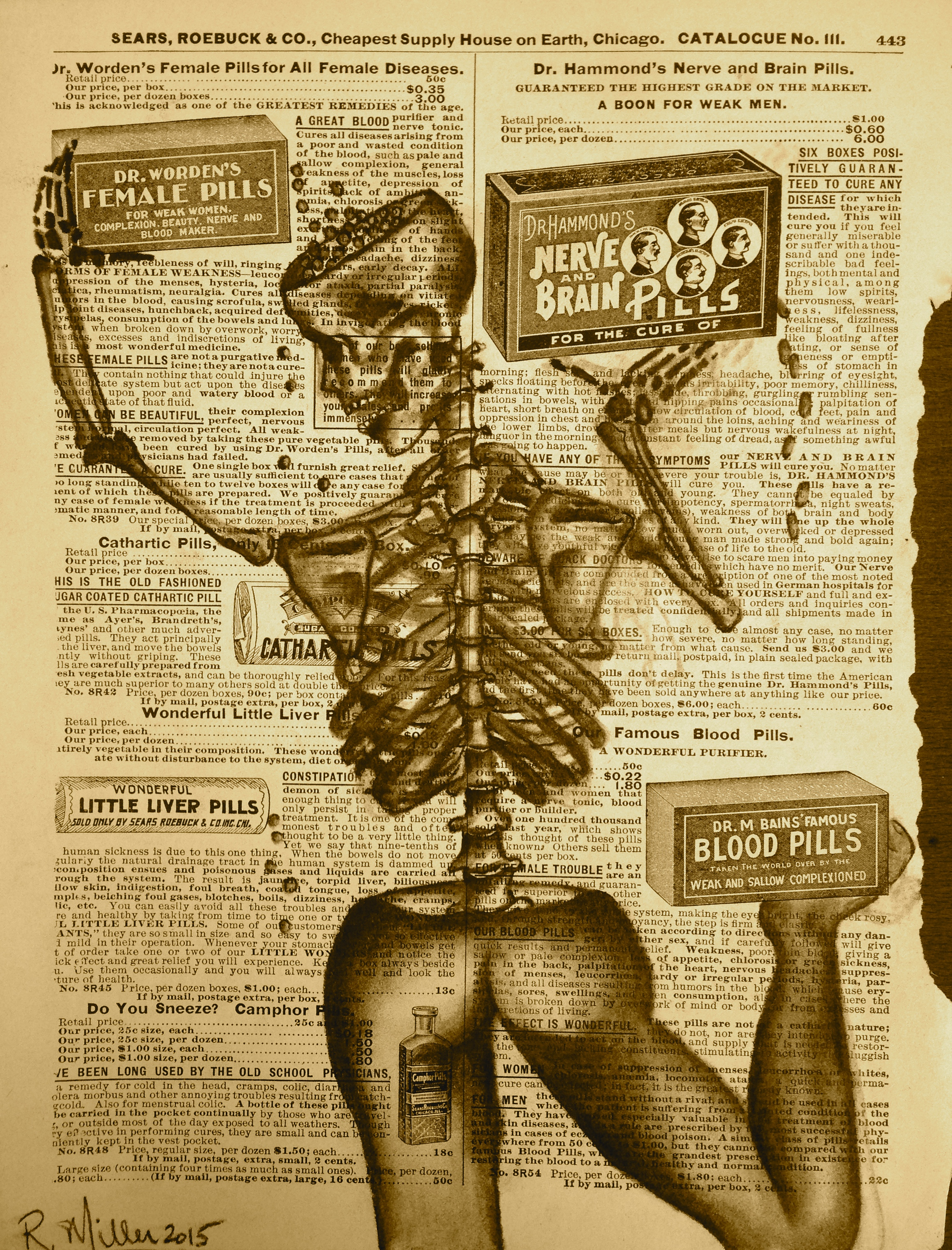 Half Gone, A Pill for Everything, 2015   Charcoal on antique catalog