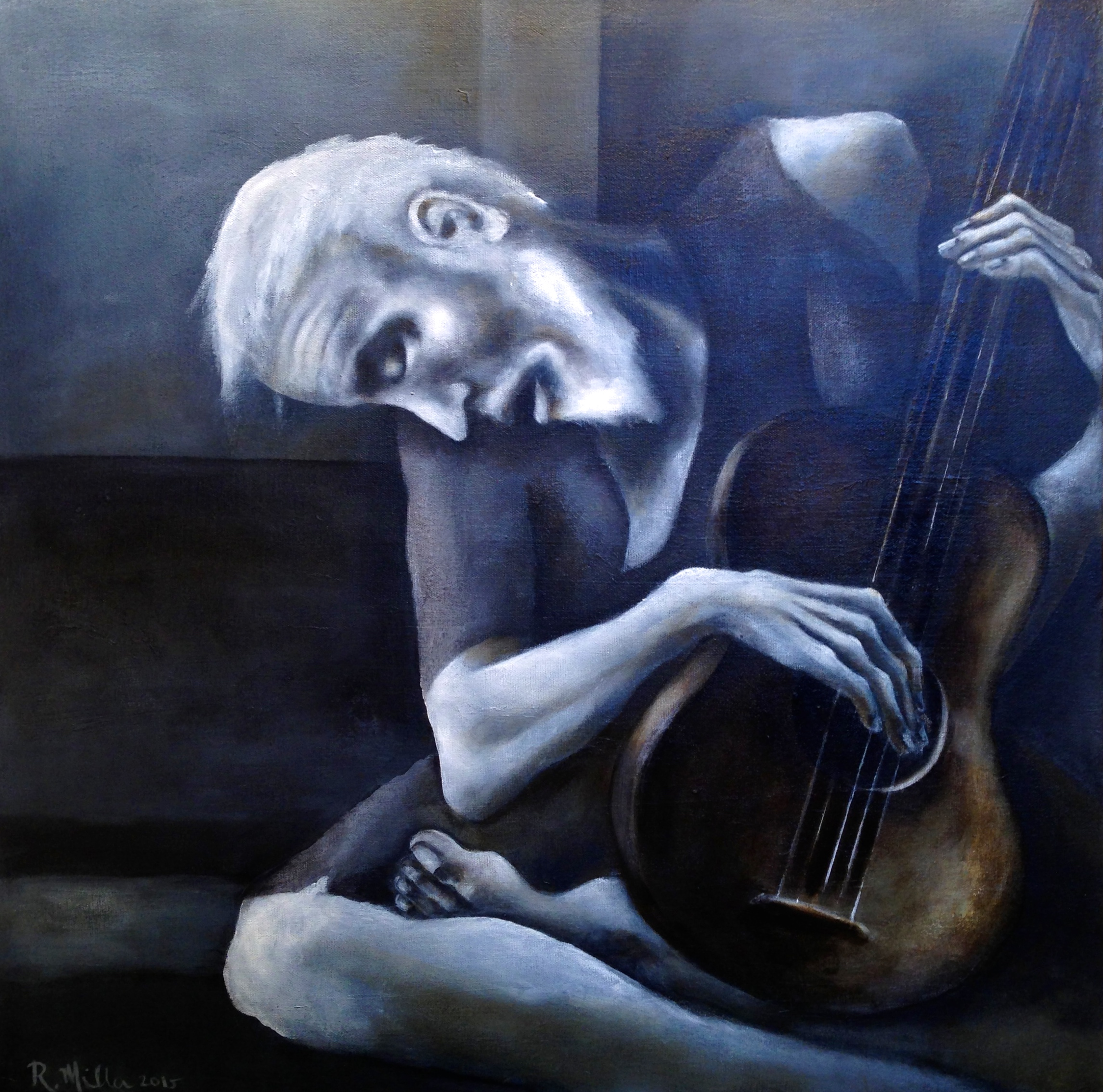 """""""The Old Guitarist"""" 2015 My take on Picasso's Beautiful piece.  Acrylic & oil on canvas"""