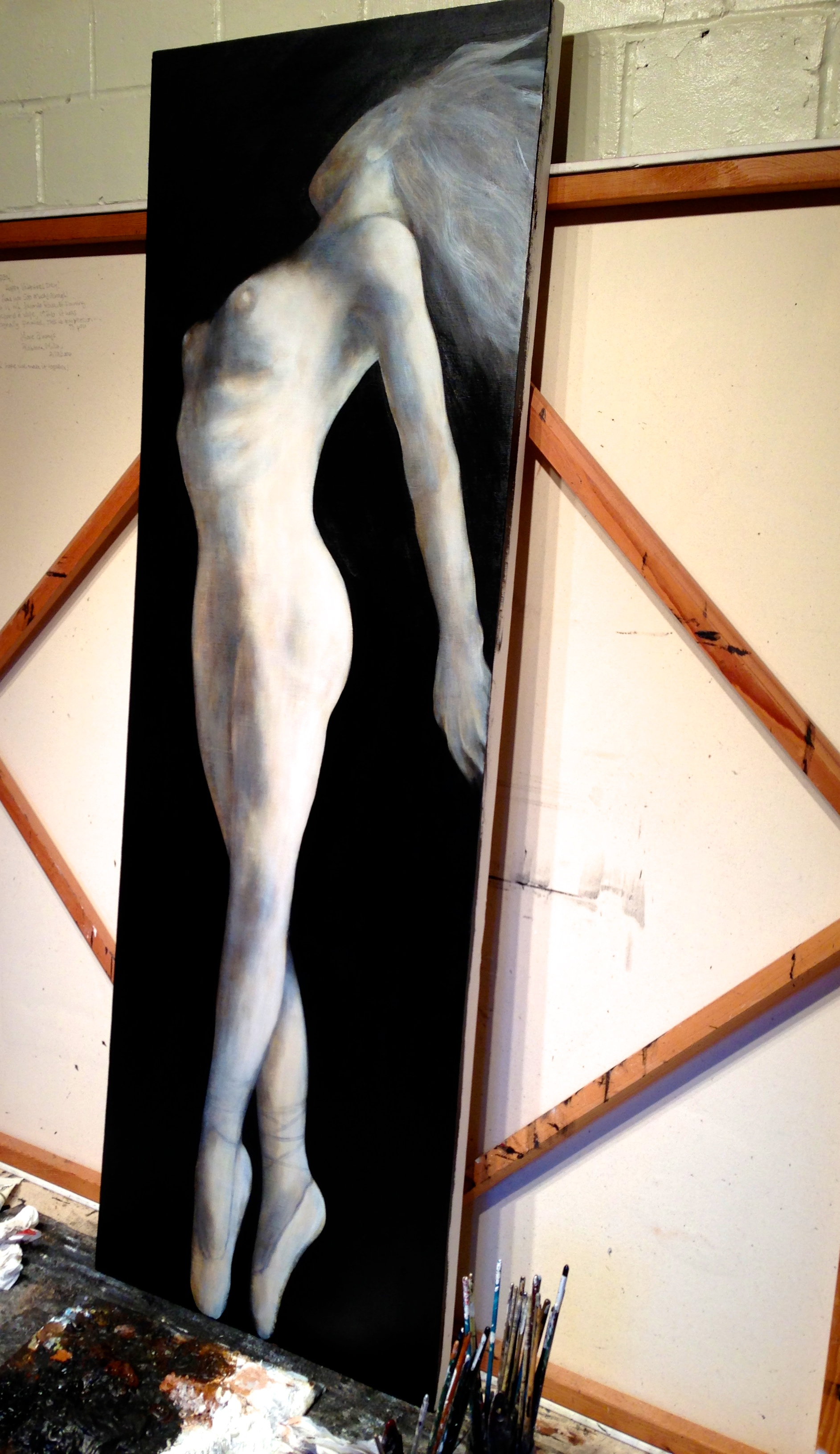 "(studio shot)Western Wind, 2015   Acrylic & oil on canvas, 20""x60"""