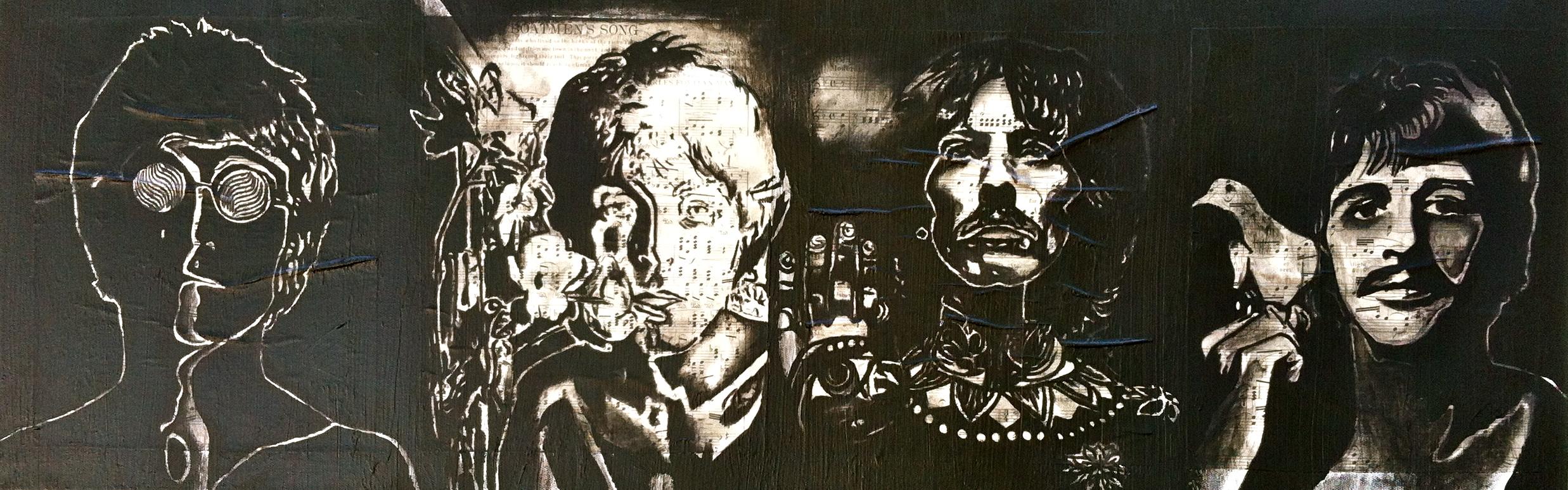 "The Beatles, 2012   Mixed media on canvas 12""x36"""