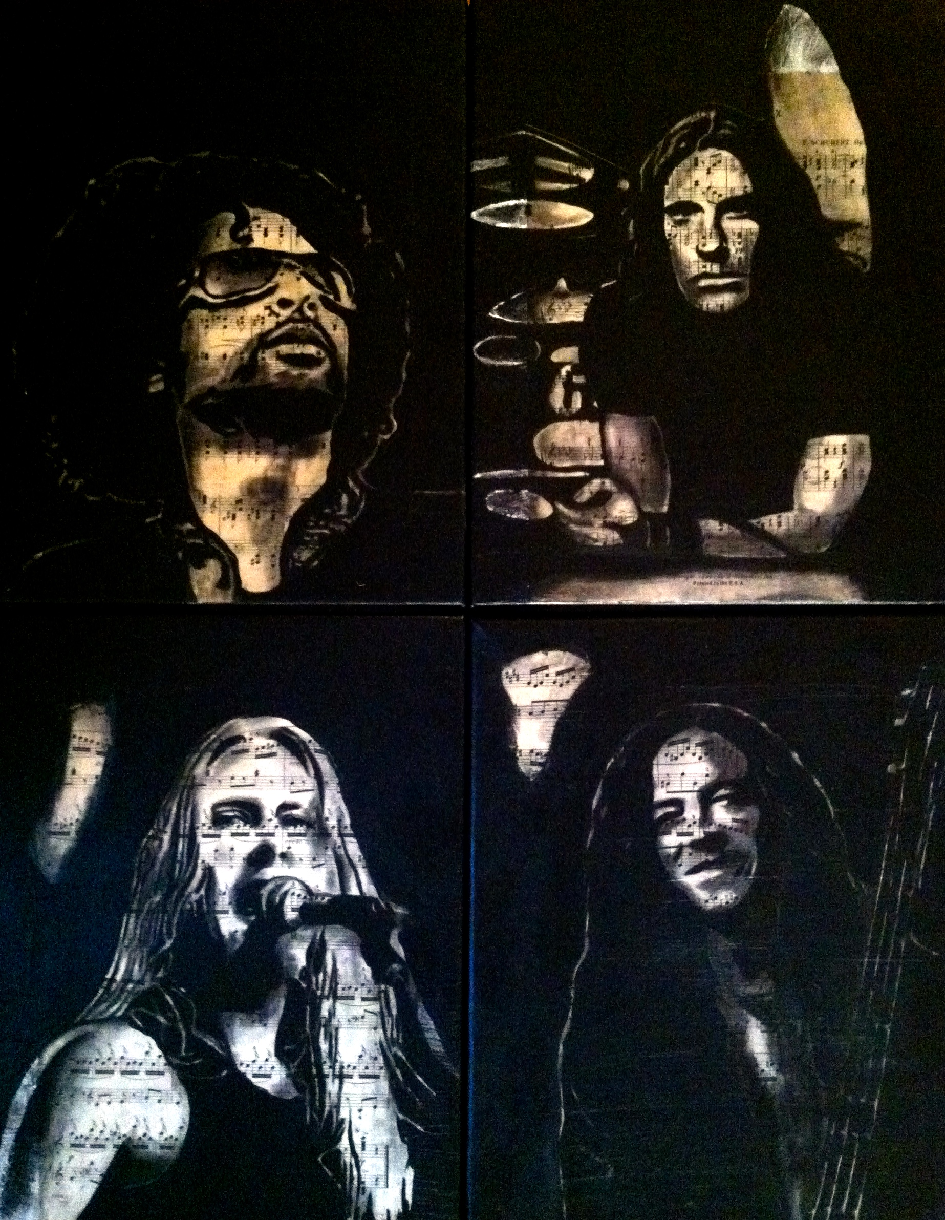 """Alice In Chains, 2012   Charcoal, antique sheet music, acrylic on canvas, four 11"""" x 14"""" canvas"""