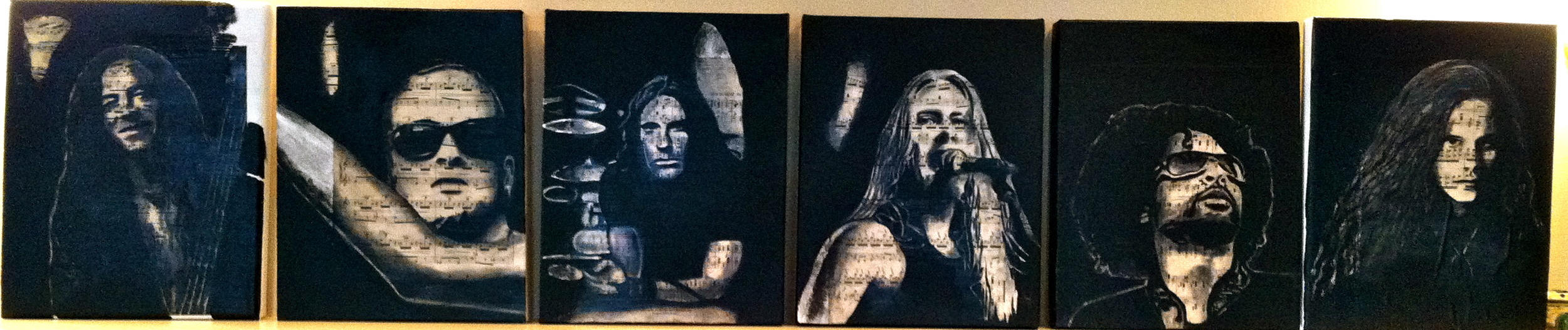 """Alice In Chains, 2012   Charcoal, antique sheet music, acrylic on canvas, six 11"""" x 14"""" canvas"""