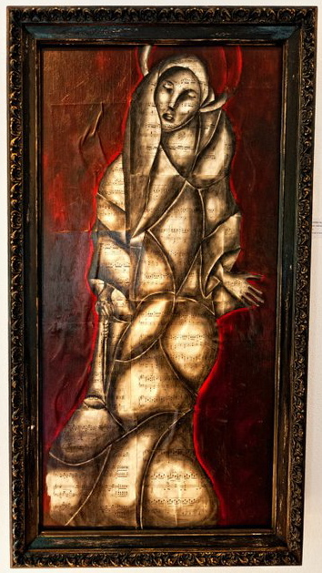 """Stained Glass Woman, 2011   Charcoal, antique sheet music, acrylic on canvas, 24"""" x 48"""""""