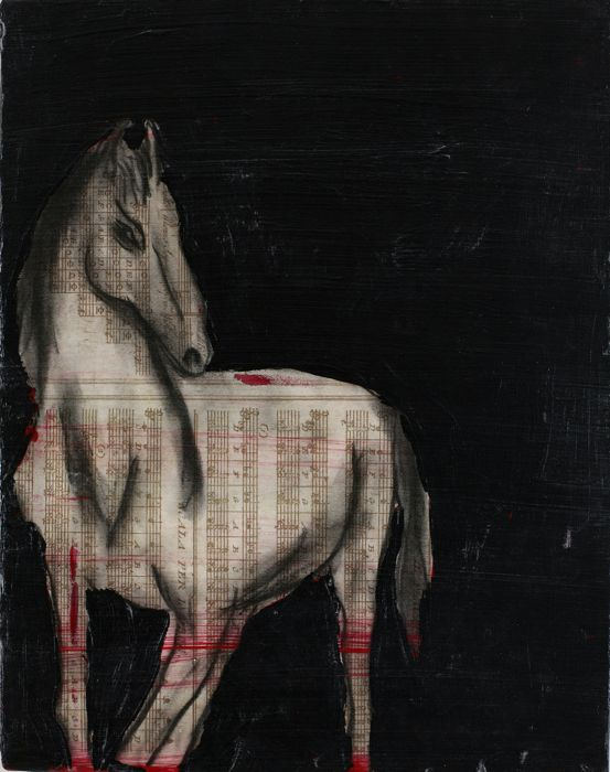 Horse, 2000   Antique catalog, charcoal, acrylic on canvas