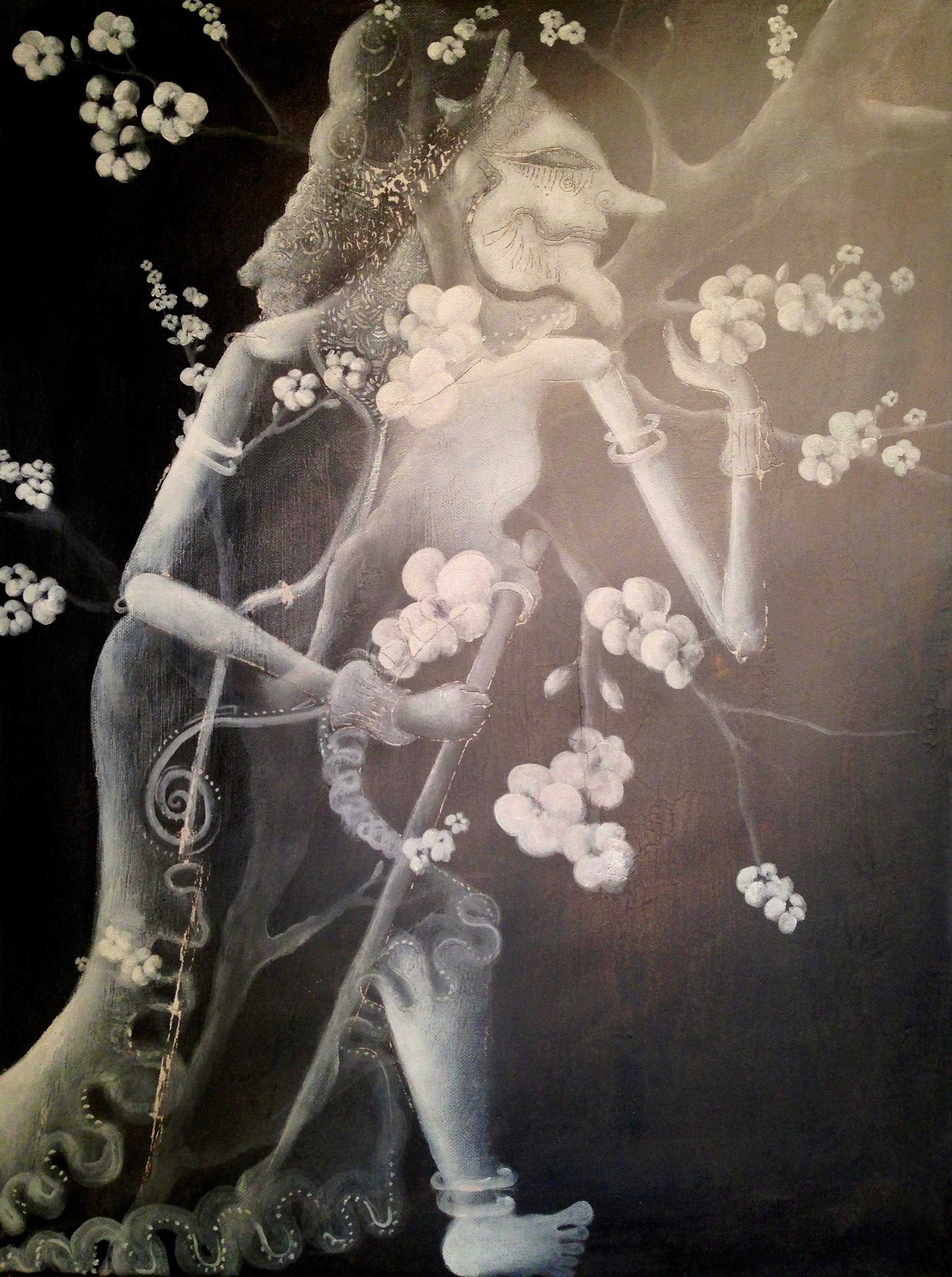 Wayang Tree Spirit, 2016   Acrylic & texture medium on canvas