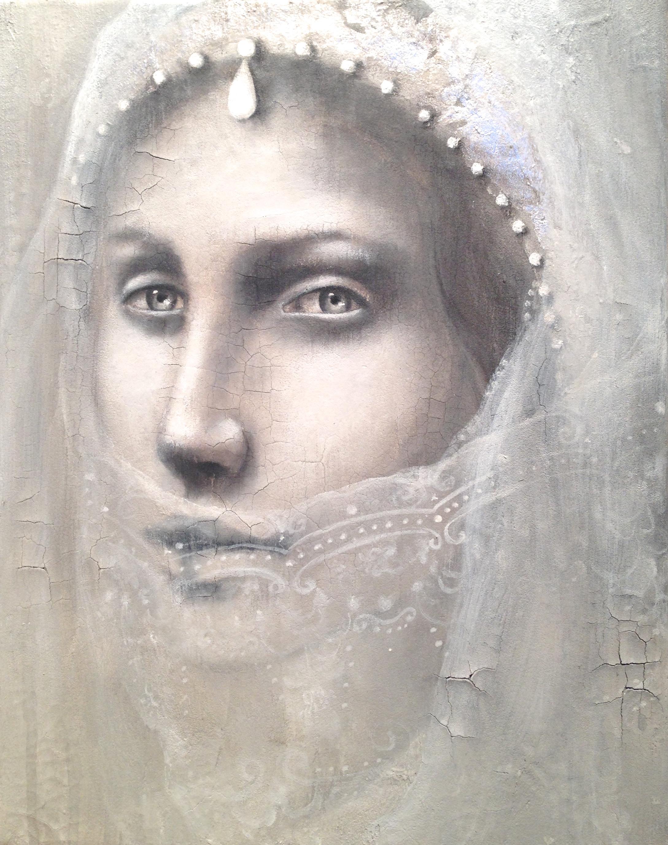 Arranged, 2016   Acrylic, oil, silver leaf, texture medium on canvas