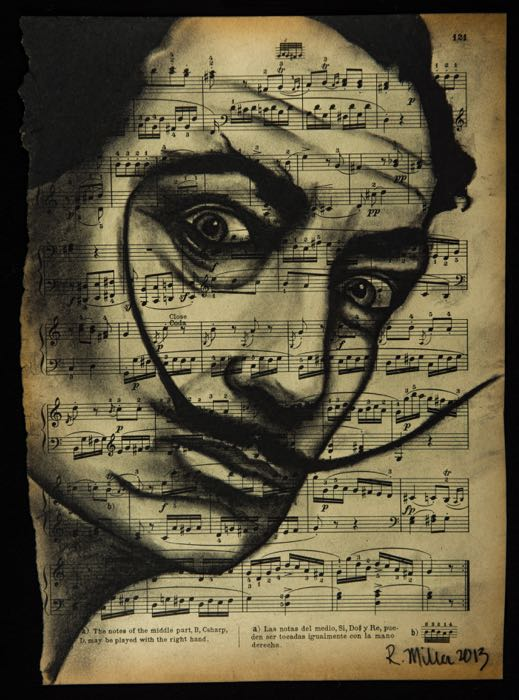 "Salvador Dali, 2013   Charcoal on antique sheet music, 9"" x 12"""
