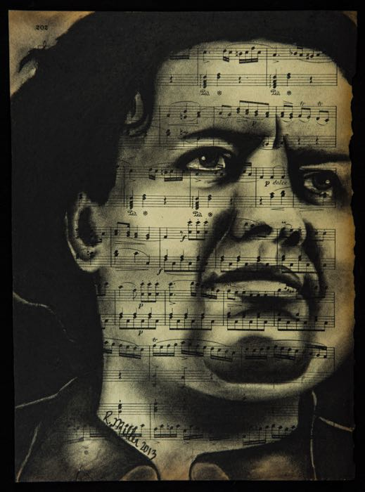 "Diego Rivera, 2013   Charcoal on antique sheet music, 9"" x 12"""
